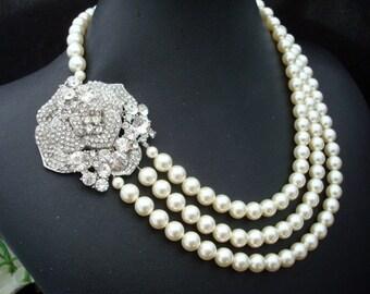 bridal necklace, pearl rhinestone necklace, Wedding Rhinestone necklace, swarovski crystal and pearl necklace, Statement necklace, ANGELINA
