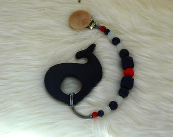 Whale Teether and Pacifier Clip- Blue, Red, White