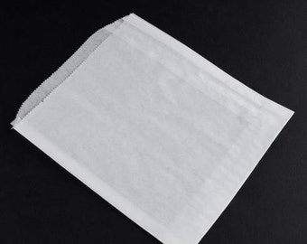 100 Gusseted White Paper Bags 6 x 6.5 inches, Sandwich Size, Food Safe