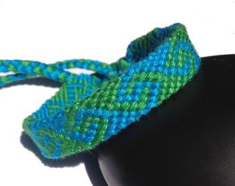 """Friendship Bracelet, model """"S"""", unisex, green and blue"""