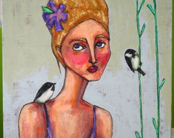 """woman with chickadees portrait original a2n2koon painting girl & black capped chickadees 8x8"""" signed wall art on birch wood panel blonde"""