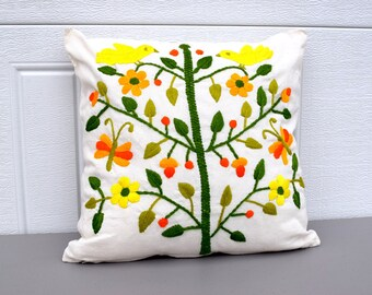 Vintage 1970 embroidered Flowered and bird pillow, bright colored pillow, boho decor, boho pillow