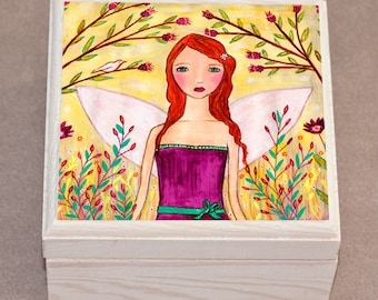 Fantasy Fairy Jewelry Box, Purple Trinket Box, Gift Box
