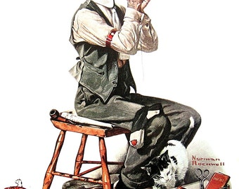 Man Threading a Needle - Large Norman Rockwell Poster Sized Print - 1977 Vintage Book Page - 15 x 12