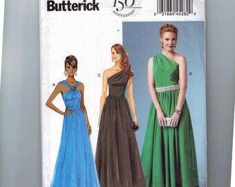 Misses Sewing Pattern Butterick B5987 5987 Misses One Shoulder Evening Gown Ball Skirt Dress Size 8 10 12 14 16 or 16 18 20 22 24 UNCUT