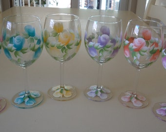 Hand Painted Set of 6 Mixed Colour Rosebud Wine Glasses