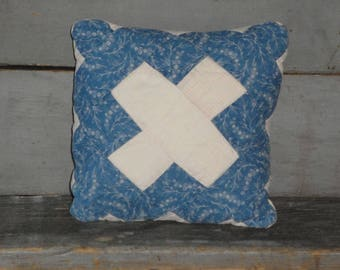 SMALL Old Blue Calico Quilt Pillow | Vintage Quilt Pillow | Antique Quilt Pillow | Primitive Pillow | Cupboard Tuck | Shelf Sitter