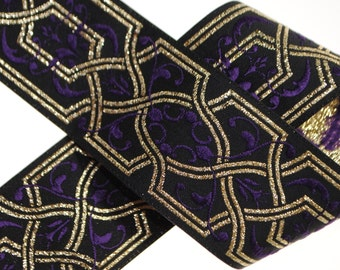 Geometric Scrolls Woven Jacquard Trim 39mm/1.52 inches wide - Two, Five, or Ten Yards