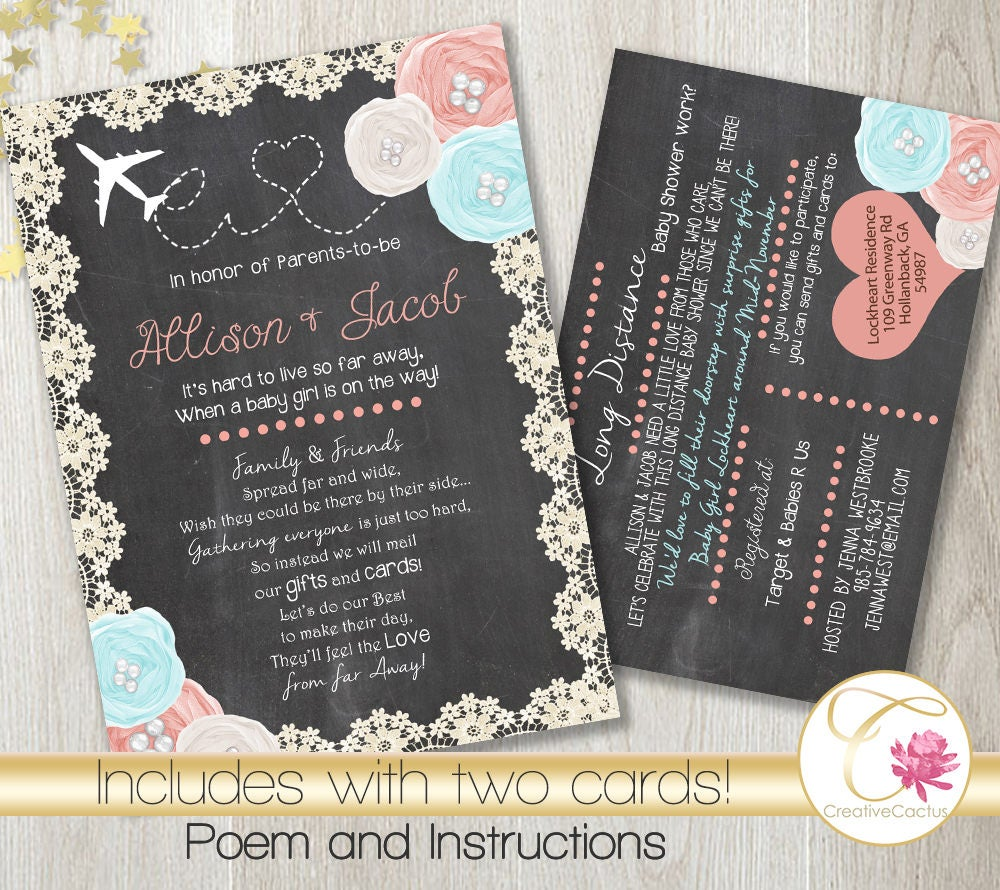 Long Distance Baby or Bridal Shower Invitation PRINTABLE