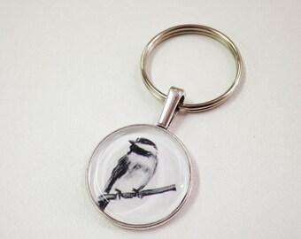 NEW Fauna Keychain fob- Chickadee - handmade from original artwork