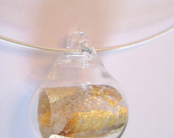 Glass Bubble Statement Necklace -Metal Foil Scroll Necklace