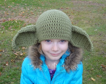 Yoda Hat Child Size Adult Geek Beanie Gifts for Kids Hand Crocheted Geekery Hat