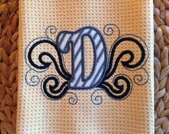 Monogram Flourish Applique - (Butter) - Black & White Ticking - Microfiber Waffle Weave Kitchen Towel