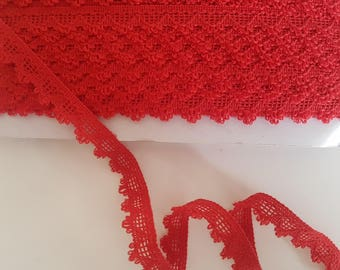 Red lace heart polyester 15mm