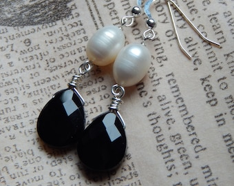 Sterling Silver, freshwater pearl and crystal earrings
