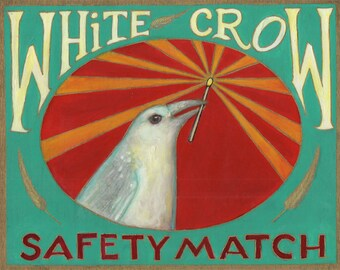 White Crow Safety Match ORIGINAL mixed media painting 8 x 10 collaboration No. 49