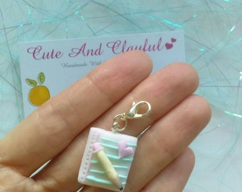 Cute Love Heart Notepad And Pencil Polymer Charm / Stitch Marker
