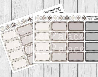 Planner Stickers Half Box Shades of Gray Set of 16