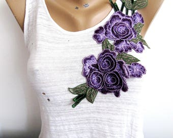 Cortona Purple Flower,3D Purple Floral Applique,Large Flower Patch,Embroidery Flower,Dress Embellishment,DIY Craft