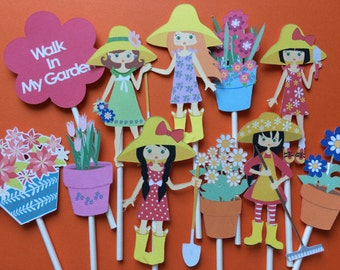 10 Garden girls birthday party cupcake toppers, garden theme toppers, party cupcake toppers, gardening theme, flowers and gardening
