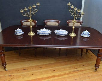 SN3217 Fine quality Victorian, rich mahogany, D end, extending dining table