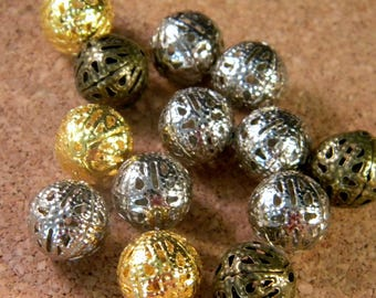 10 12 MM - mixed colors - gold filigree beads silver copper bronze Platinum PE210