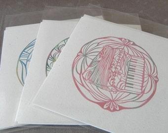 Assortment Instrument series, Kiri-e Japanese paper-cut style prints (set of 6 greeting cards)