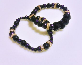 Black and Purple glass with gold rhinestone accents