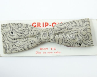 Gray Vintage Clip On Bow Tie 1950s Patterned Bowtie