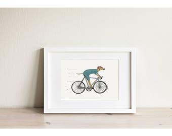 Cycling Hound - Mini Framed Print