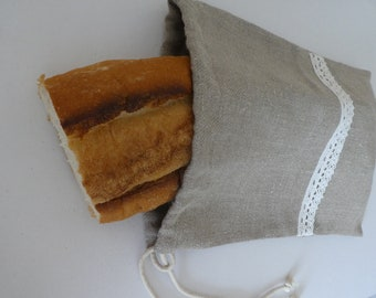 Natural organic linen Bread bag, Rustic linen fresh bread keeper, Reusable Storage Bag, Flax eco baguette bag, Housewarming gift idea