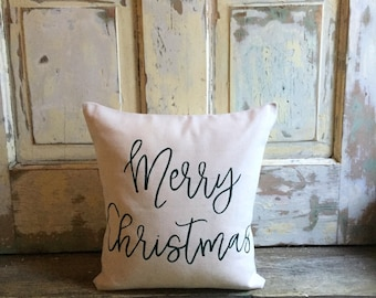 Pillow Cover | Merry Christmas pillow | Christmas pillow | Christmas decor | Holiday pillow | Holiday Decor | Farmhouse Christmas