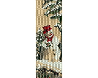Snowman Peyote Bead Pattern, Christmas Bracelet Cuff, Bookmark, Seed Beading Pattern Miyuki Delica Size 11 Beads - PDF Instant Download