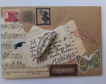 """Tampon fait-main """"Fragile"""" en forme de plume - tampon fait maison - tampon pour courrier - tampon pour décorer une enveloppe - snailmail"""