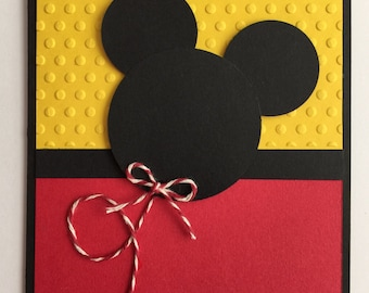 Handmade Embossed Mickey Mouse Birthday Card