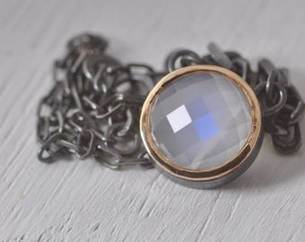 Rose cut Moonstone necklace in dark sterling with 14k yellow gold frame, blue flash, true moonstone, ready to ship