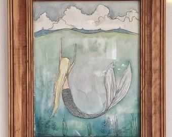 Astrid~ original mermaid watercolor painting