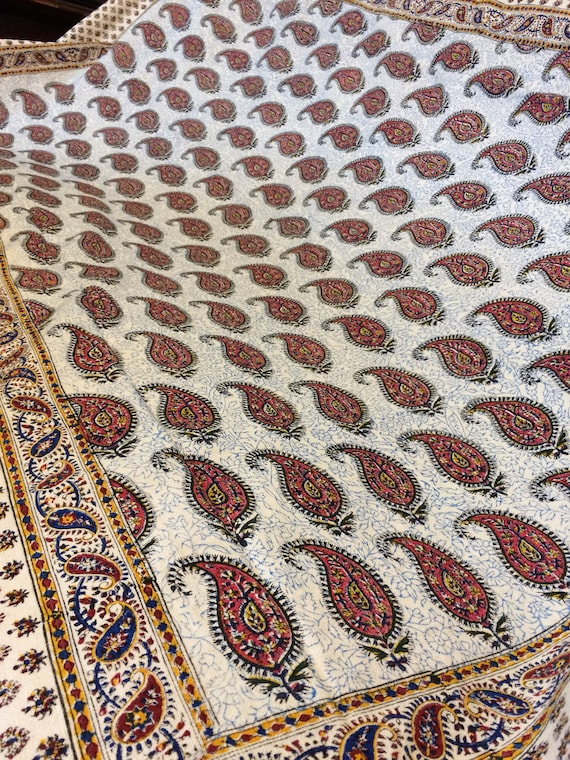 """Hand printed tapestry Table cloth, calico 78"""" x 52""""inches traditional paisley design - Table cloth or bedspread - Hand Dyed"""