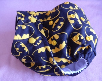 SassyCloth one size pocket diaper with Batman logo on black cotton print. Made to order.
