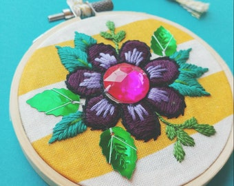 Floral Hand Embroidery with Gem // Hoop Art