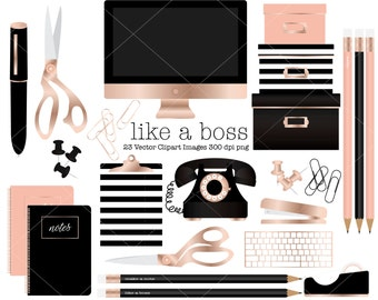 Office Themed clipart, Rose Gold, boxes, scissors, paperclips, pencil, pen, computer, clipboard, push pins, notebook