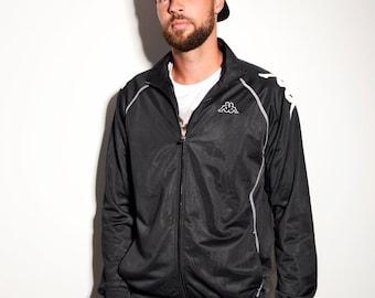 KAPPA vintage track jacket in black | 90s sport tracksuit top full zip jacket for men | Vintage mens clothing online | Size - L