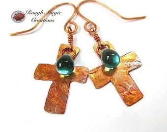 Copper Cross Earrings, Teal Aqua Glass Teardrops, Inspirational Gift for Her, Religious Statement Earrings, Christian Jewelry for Women E419