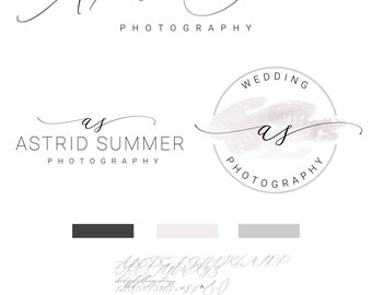 Calligraphy Logo, Photography Logo, Watercolor Logo Design, Branding kit, Logo,  Premade,Branding Package, Watermark
