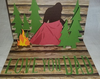Bigfoot pop up Father's day card, sasquatch card, birthday card, camping, woods, custom, personalized