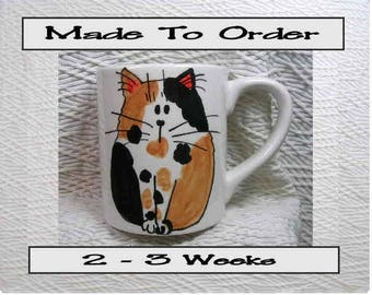 Calico Cat With Heart Mug 12 Oz. Ceramic  Handpainted by Grace M. Smith