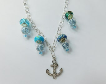 Nautical Statement Necklace with Blue Ocean Beads