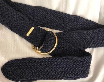 "Vintage woven fibers navy blue adjustable belt, Ralph Lauren braided navy blue casual belt, double gold rings dark blue braided belt 45"""