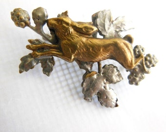 Rabbit with Briar Berries Brooch