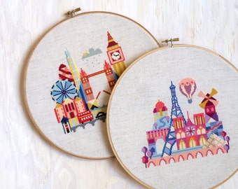 London and Paris - Satsuma Street Modern Cross Stitch Pattern PDF - Instant Download